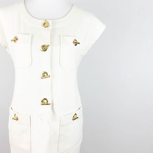 Ivanka Trump Sheath Dress Small Gold Toggles Ivory